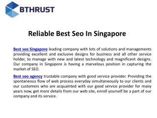 Reliable best seo in singapore