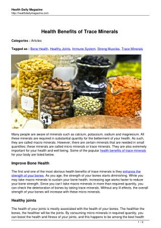 Health Benefits of Trace Minerals - Health Daily Magazine