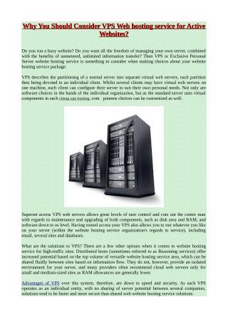 Why You Should Consider VPS Web hosting service for Active Websites?