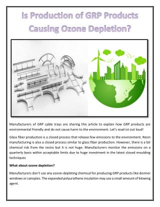 Is Production of GRP Products Causing Ozone Depletion?