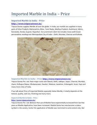 Imported Marble in India – Price