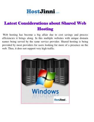 Latest Considerations about Shared Web Hosting