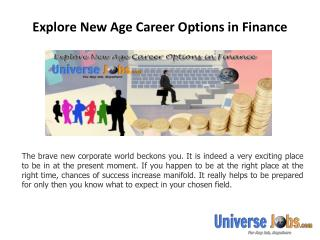 Explore New Age Career Options in Finance