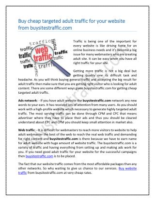 Buy cheap targeted adult traffic for your website from buysitestraffic.com