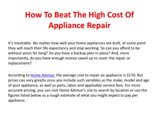 How To Beat The High Cost Of Appliance Repair