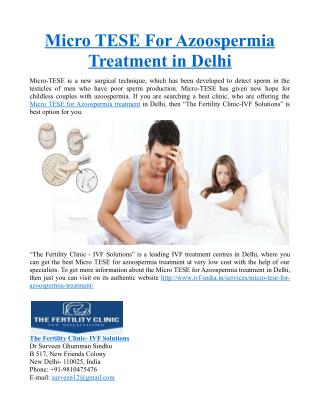 Micro TESE For Azoospermia Treatment in Delhi