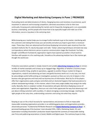 Digital Marketing and Advertising Company in Pune | PROMOZIE