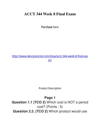 ACCT 344 Week 8 Final Exam