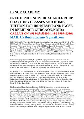IB Home Tutor in Delhi / Gurgaon @9654506004, IB ONLINE TUTOR,IB HOME TUTOR IN GURGAON,DELHI,NOIDA