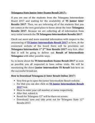 TS Junior Intermediate Result 2017