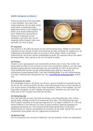 Koffie hotspots in Almere