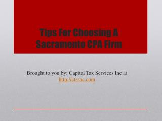 Tips For Choosing A Sacramento CPA Firm