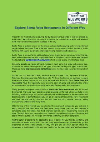 Explore Santa Rosa Restaurants In Different Way