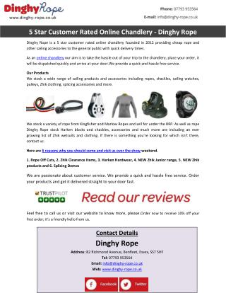 5 Star Customer Rated Online Chandlery - Dinghy Rope