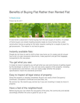 Benefits of Buying Flat Rather than Rented Flat