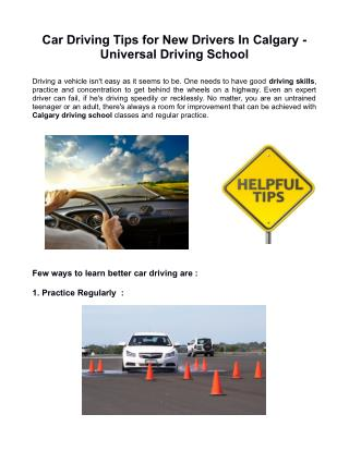 Car Driving Tips for New Drivers In Calgary - Universal Driving School
