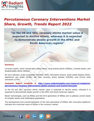 Percutaneous Coronary Interventions Market Trends and Analysis, Outlook 2022
