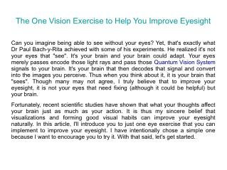 The One Vision Exercise to Help You Improve Eyesight