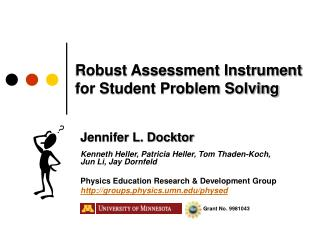 Robust Assessment Instrument  for Student Problem Solving