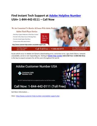 Get toll Free  1-844-442-0111 Adobe Technical Help Number USA
