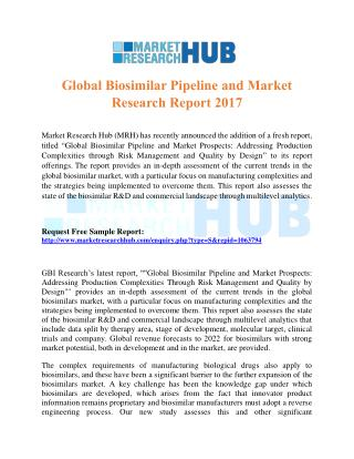 Global Biosimilar Pipeline and Market Research Report 2017