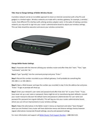 Change Settings of Belkin Wireless Router.