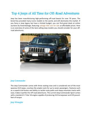 Top 4 Jeeps of All Time for Off-Road Adventures