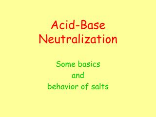 Acid-Base  Neutralization