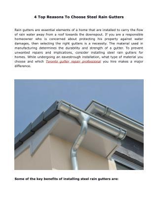 4 Top Reasons To Choose Steel Rain Gutters