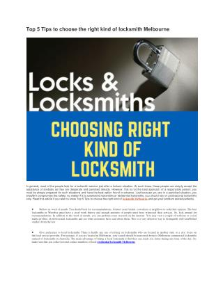Top 5 Tips to choose the right kind of locksmith Melbourne