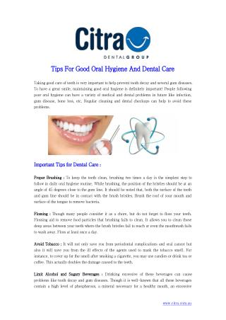 Tips For Good Oral Hygiene And Dental Care