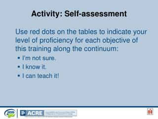 Activity: Self-assessment