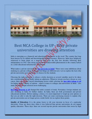 Best MCA university in UP