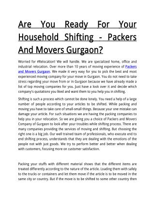 Are You Ready For Your Household Shifting - Packers And Movers Gurgaon?