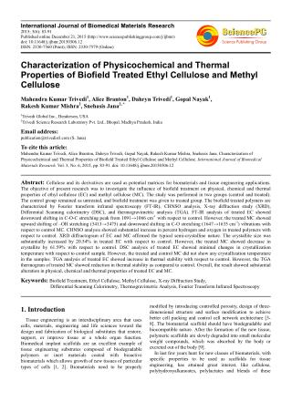 Characterization of Physicochemical and Thermal Properties of Biofield Treated Ethyl Cellulose and Methyl Cellulose