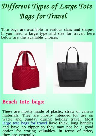Different Types of Large Tote Bags for Travel