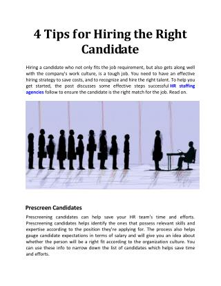 4 Tips for Hiring the Right Candidate