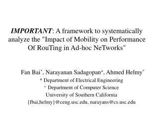 IMPORTANT: A framework to systematically analyze the Impact of Mobility on Performance Of RouTing in Ad-hoc NeTworks