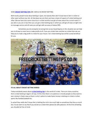 cricket betting tips   cricket betting tips free