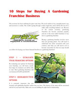 10 Steps for Buying A Gardening Franchise Business