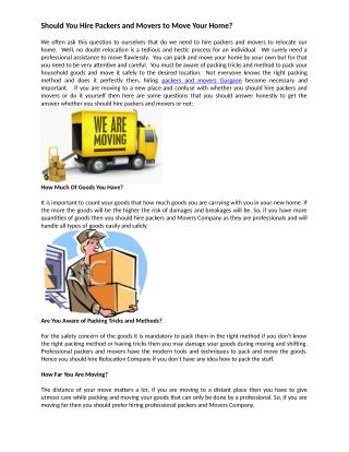 Should You Hire Packers and Movers to Move Your Home?