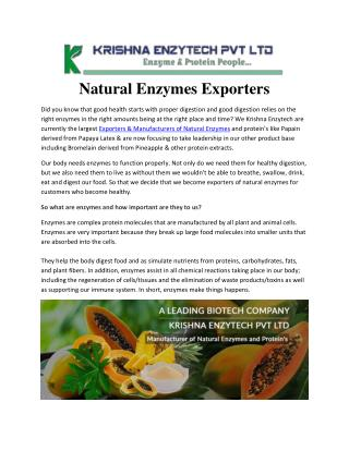Natural Enzymes Exporters