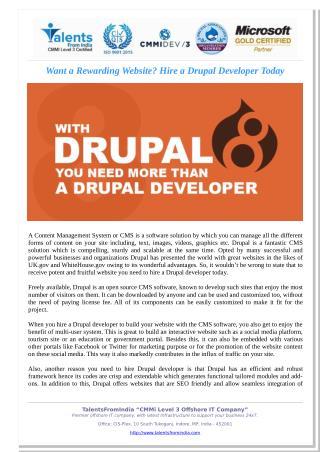 Want a Rewarding Website? Hire a Drupal Developer Today