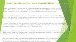 Speaking Roses Improve Your Organic Gardening Skills by Trying These Ideas