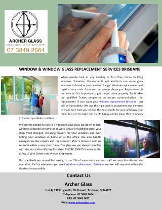 WINDOW & WINDOW GLASS REPLACEMENT SERVICES BRISBANE