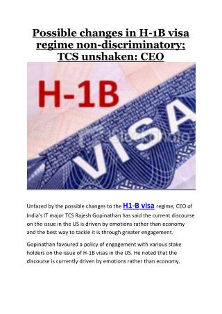 Possible changes in H-1B visa regime non-discriminatory; TCS unshaken: CEO