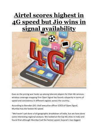 Airtel Scores Highest in 4G Speed but Jio Wins in Signal Availability
