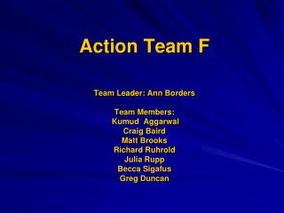 Action Team F  Team Leader: Ann Borders   Team Members:    Kumud  Aggarwal Craig Baird Matt Brooks Richard Ruhrold Julia