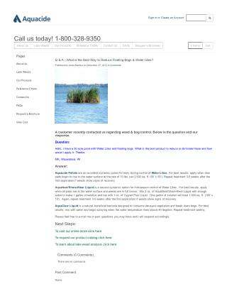 How to Reduce  Floating Bogs & Water Lilies
