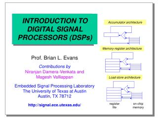 INTRODUCTION TO DIGITAL SIGNAL PROCESSORS DSPs